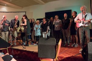 Festival Finale-The Mighty Doonans plus us, Mike Harding, Young'Uns, Karin & Rosie, Demon Barber. Photo by Bryan Ledgard